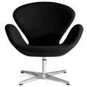 Shell Modern Classic Lounge Chair in Black Fabric