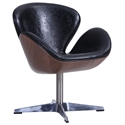 Shell Mid-Century Modern Lounge Chair Black Faux Leather + Walnut