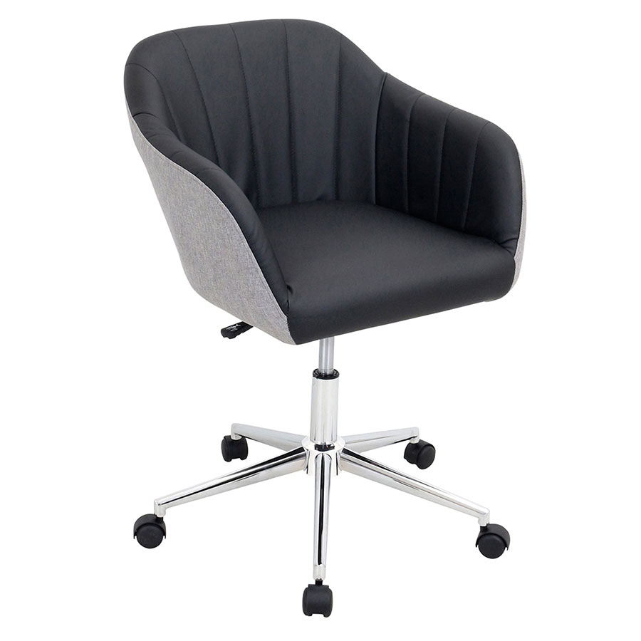 Sherwin Black Leatherette + Gray Fabric + Chrome Metal Modern MidBack Office Chair