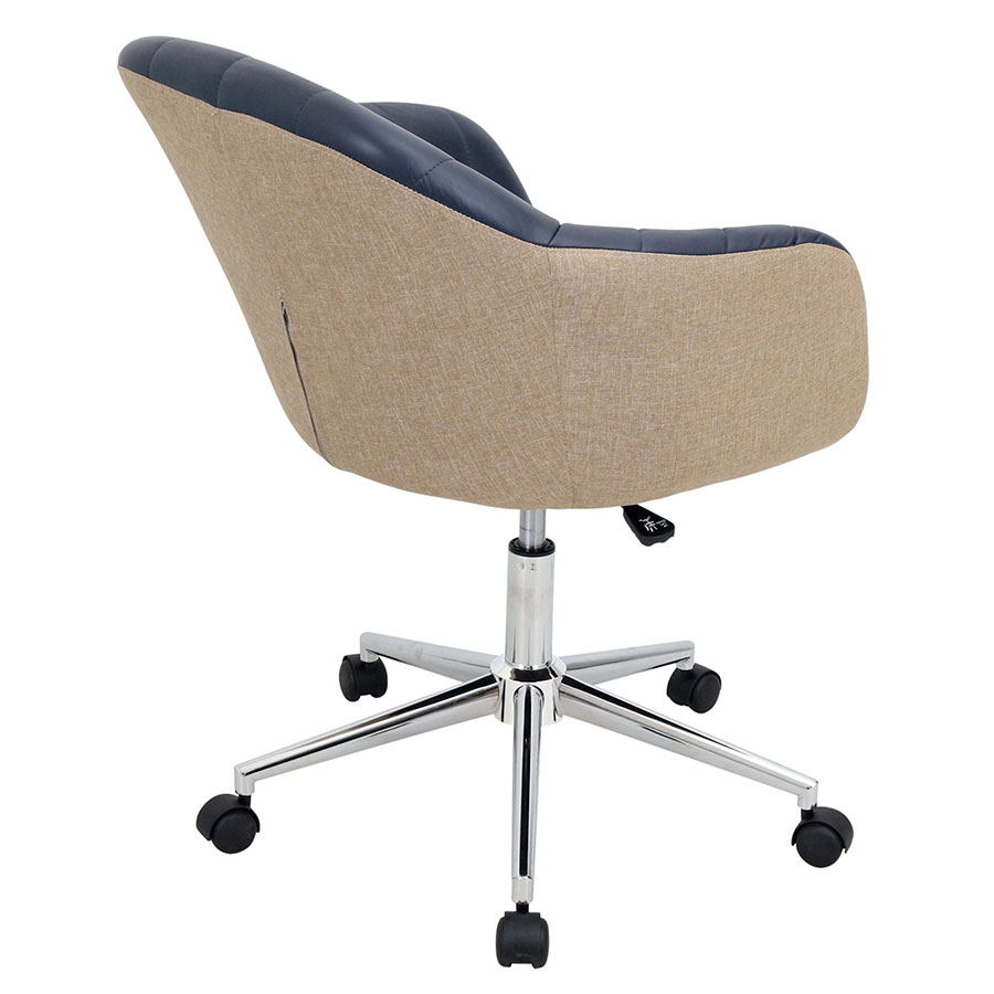 Tan leather office chair -  Sherwin Navy Pu Leather Chrome Contemporary Midback Office Chair