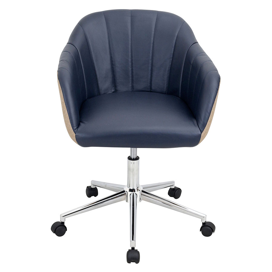 sherwin navy faux leather  tan fabric  chrome base contemporarymidback office chair . modern office chairs  sherwin navy office chair  eurway