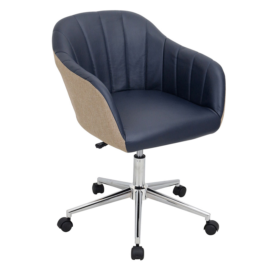 call to order · sherwin navy faux leather  tan fabric  chrome base modernmidback office chair. modern office chairs  sherwin navy office chair  eurway