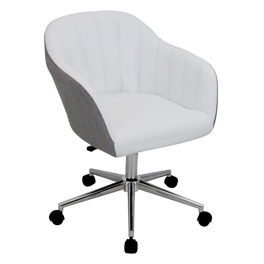 Sherwin White Leatherette + Gray Fabric + Chrome Metal Modern MidBack Office Chair