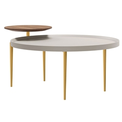 Modloft Shubert Modern Coffee Table in Walnut, Chateau Gray and Polished Gold