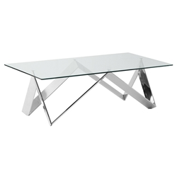 Sicily Modern Polished Steel + Glass Coffee Table