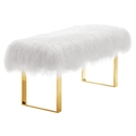Siegel Modern Sheepskin Bench in White + Gold