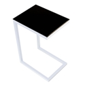 Sierra Modern Accent Table - White Base + Black Glass