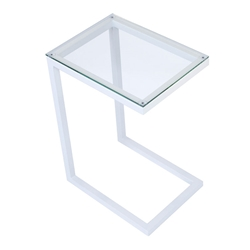 Sierra Modern Accent Table - White Base + Clear Glass