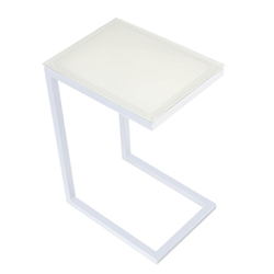Sierra Modern Accent Table - White Base + White Glass