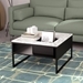 Sigma Black + White Marble Contemporary Coffee Table with Square Accent Cubby