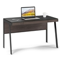 BDi Sigma Sepia Brown Wood Laminate + Black Steel + Black Glass Compact Modern Desk