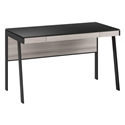 BDi Sigma Gray Wood Laminate + Black Steel + Black Glass Compact Modern Desk