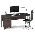 BDi Sigma Sepia Laminate + Black Steel + Black Glass Modern Desk + Mobile File Set