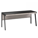 BDi Sigma Gray Wood Laminate + Black Steel + Black Glass Modern Desk