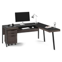 BDi Sigma Sepia Laminate + Black Steel + Black Glass Modern L Desk with Mobile File Office Set