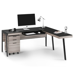 BDi Sigma Gray Wood Laminate + Black Steel + Black Glass Modern L Desk with Mobile File Office Set