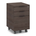 BDi Sigma Sepia Brown Laminate + Black Steel Modern Mobile Cabinet