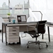 BDi Sigma Gray Wood Laminate + Black Steel Modern Mobile Cabinet - With Desk Room Photo