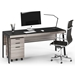 BDi Sigma Gray Wood Laminate + Black Steel Modern Mobile Cabinet - With Desk