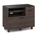 BDi Sigma Sepia Brown Laminate + Black Steel + Black Glass Modern Multi Function Cabinet