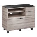 BDi Sigma Gray Wood Laminate + Black Steel + Black Glass Modern Multi Function Cabinet