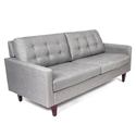 Sigrun Gray Fabric + Solid Wood Vintage Modern Sofa