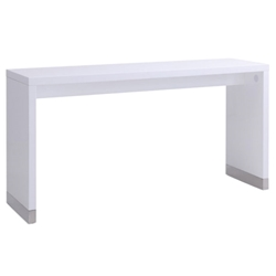 Silas High Gloss White Modern Counter Height Table with Stainless Steel Accents
