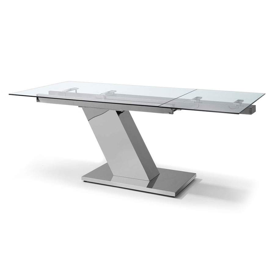 White modern dining table - Simpson Modern Glass Extension Dining Table