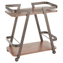 Simpson Modern Industrial Serving Cart in Walnut