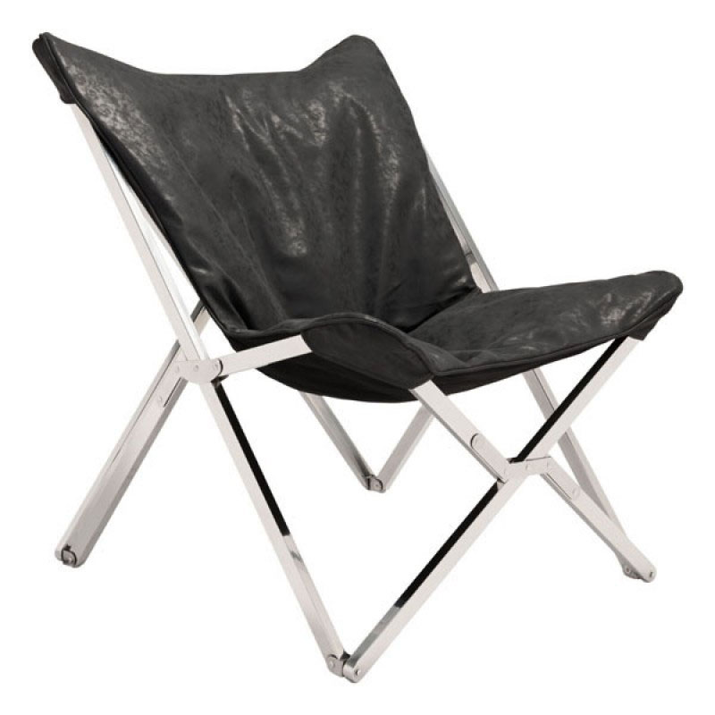 Call To Order · Sink In Black Antiqued Leather + Polished Metal Collapsible  Modern Lounge Chair