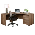 Series 100 Modern Associate Left Desk Set in Walnut Open Grain Laminate