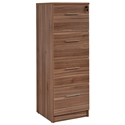 Sirius 100 Collection Walnut Modern 4 Drawer Vertical File Cabinet