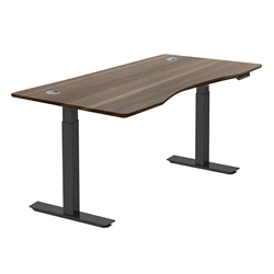 Sit-Stand Adjustable 55x27 Modern Desk in Walnut