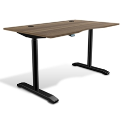Sit-Stand Adjustable 55x32 Modern Desk in Walnut