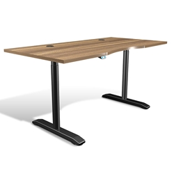 Sit-Stand Adjustable 65x32 Modern Desk in Walnut