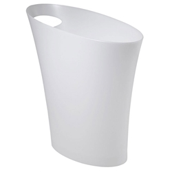 Modern Metallic White Skinny Waste Can