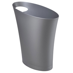 Modern Silver Skinny Waste Can