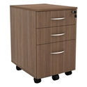 Skye Modern Walnut 3 Drawer Mobile File Cabinet
