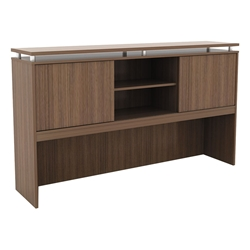 Skye Modern 66 Inch Walnut Hutch w/ Sliding Doors
