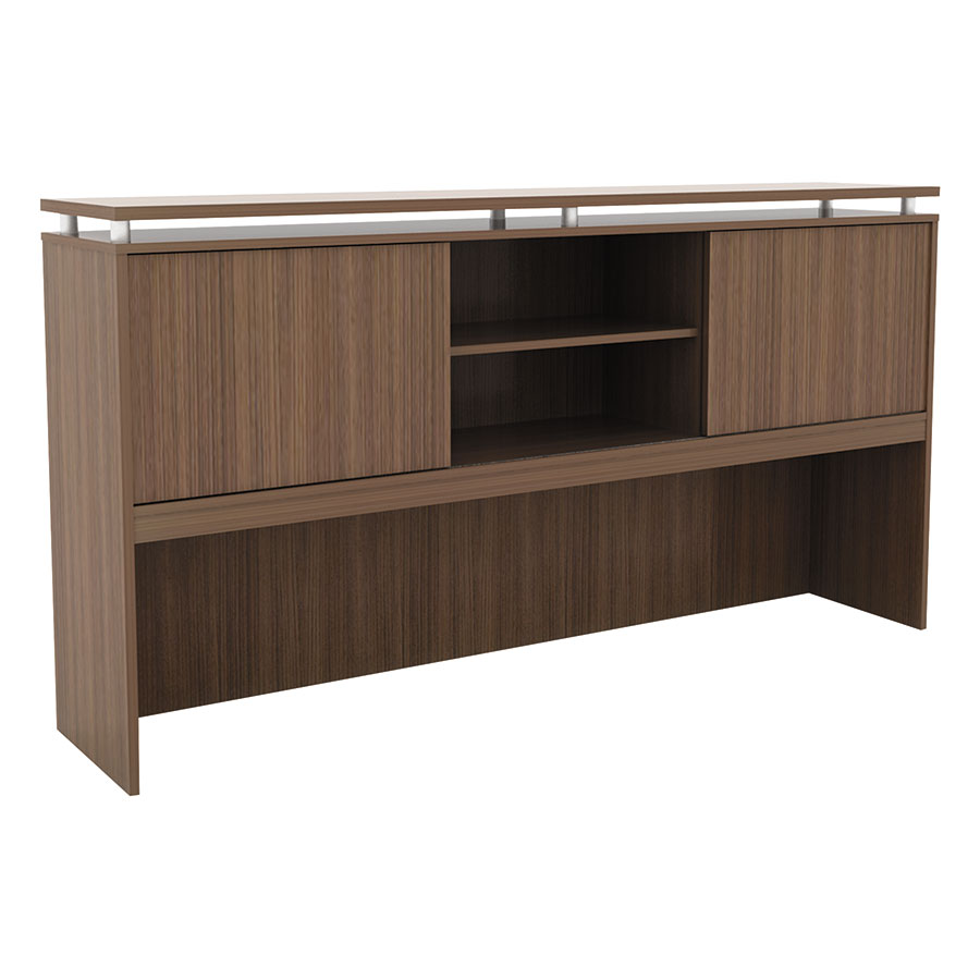 Skye Modern 72 Inch Walnut Hutch w/ Sliding Doors