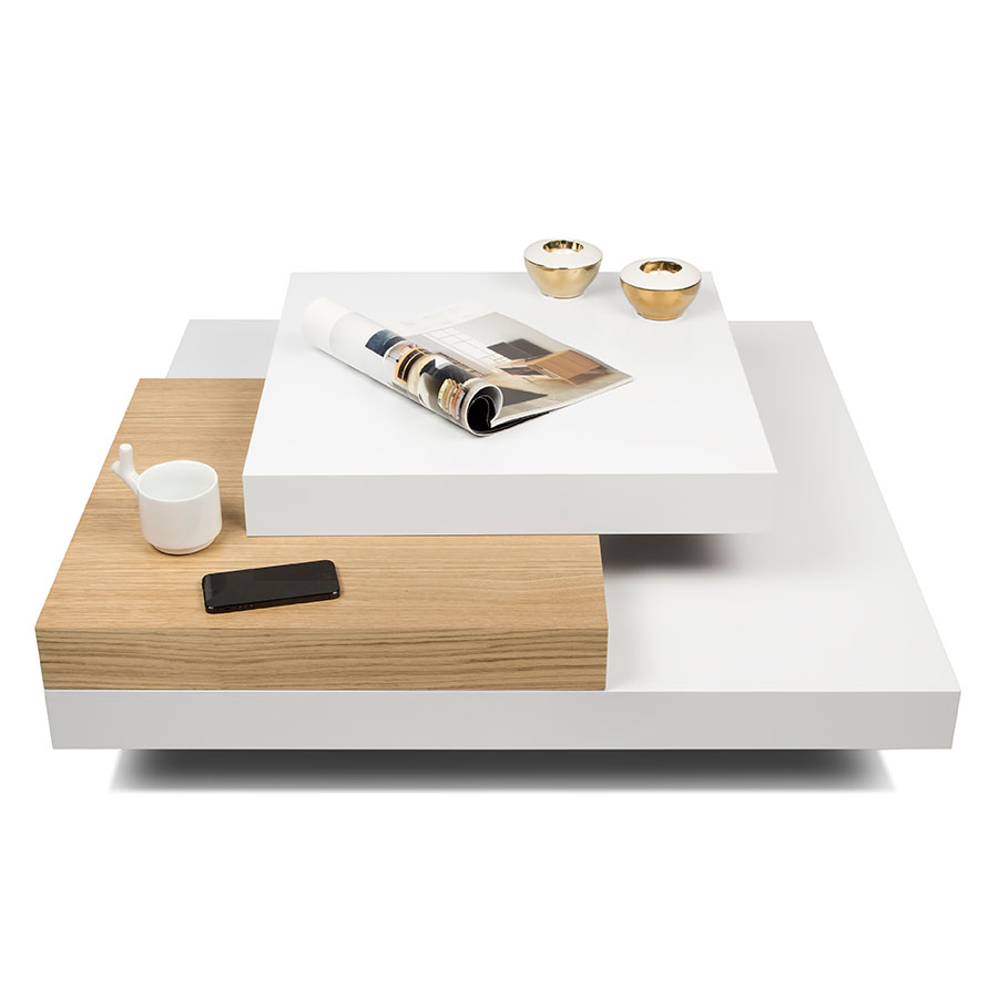 Slate White Oak Contemporary Coffee Table Dressed
