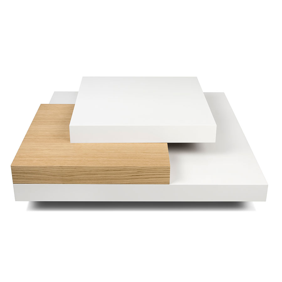 Slate White Oak Contemporary Coffee Table Front
