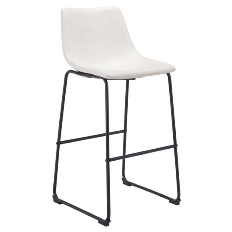 Slater Distressed White Leatherette + Black Steel Modern Bar Stool