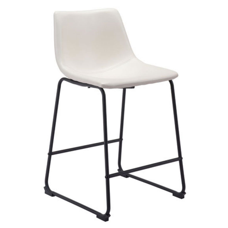 Slater Distressed White Leatherette + Black Steel Contemporary Counter Stool
