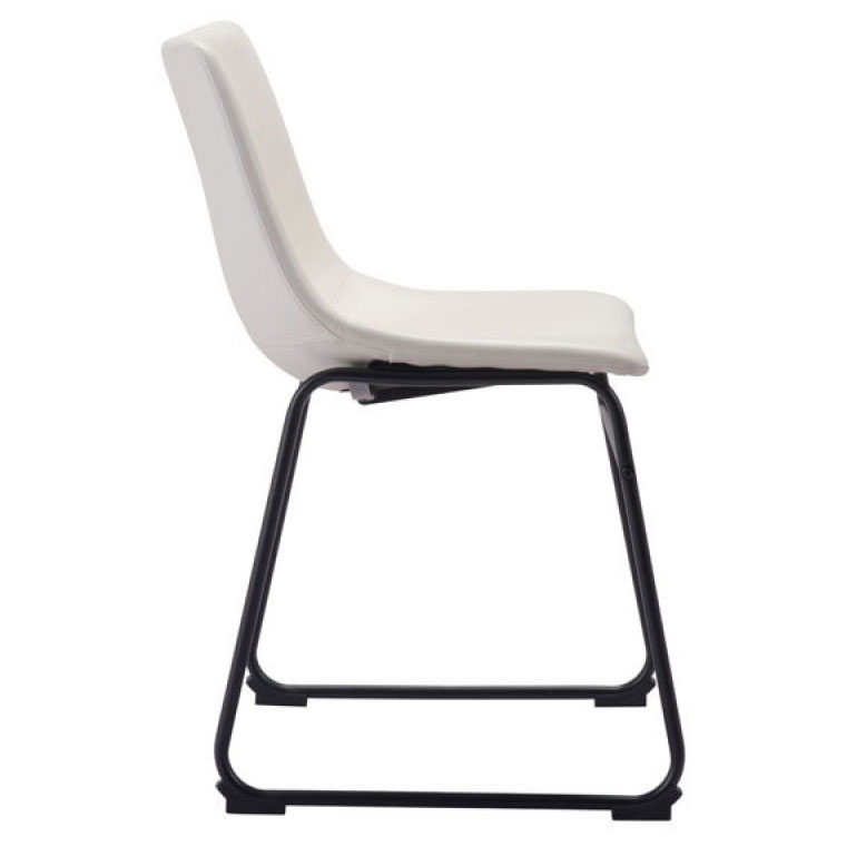 side chair slater distressed white leatherette black steel dining chair