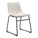 Slater Distressed White Leatherette + Black Steel Modern Dining Side Chair