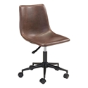 Slater Brown Faux Leather + Black Metal Modern Armless Office Chair