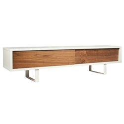 Slide White + Walnut Contemporary TV Stand