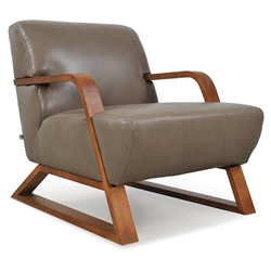 Sloan Modern Genuine Leather Chair in Taupe