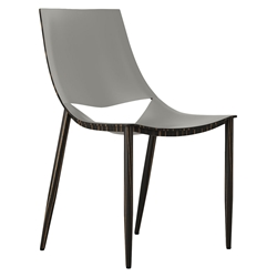 Modloft Black Sloane Modern Dining Chair in Gray Leather and Ebony Wood
